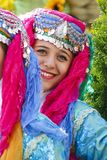 Cyprus folkdancer portrait in colorful dress stock images