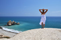 Cyprus. Girl at the Aphrodite birthplace, Cyprus Stock Photography