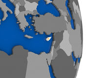 Cyprus on globe with flag Stock Photography