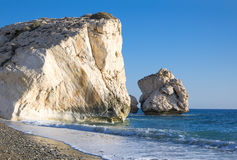 Cyprus. Greece, Cyprus, the Petra Tou Romiou coast Aphrodites` Rock who, according to legend, it is the birthplace of Aphrodite Stock Photos
