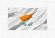 Cyprus hand painted waving national flag, oil paint isolated on. White canvas, 3D illustration Stock Photo