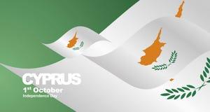 Cyprus Independence Day flag ribbon landscape background. National symbol landmark banner vector vector illustration