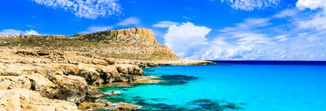 Cyprus island - amazing crystal waters of Blue lagoon in Cape Greko Stock Image