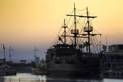 Cyprus the island of 2018 summer sea ship. Sunset boat stock photo