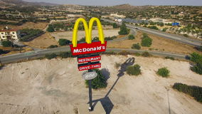 CYPRUS - JUNE 2016 - McDonalds sign near highway stock video footage