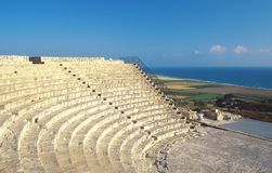 Cyprus, Kourion, Roman amphitheater and beach. Cyprus, Kourion, Roman amphitheater, archaeological site and the beach Stock Image