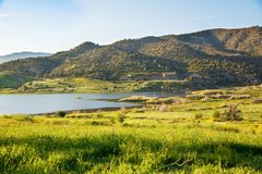 Cyprus landscape. With mountains, lake and village Royalty Free Stock Photo