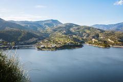 Cyprus landscape. With mountains, lake and village Royalty Free Stock Photography