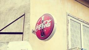CYPRUS, LARNACA - CIRCA April 2018: Sign of popular american soft drink Coca-Cola - famous soda brand stock video footage