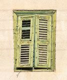 Green weathered window on a yellow wall in the old city. Cyprus, Larnaca. Green weathered window on a yellow wall in the old city stock images