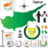 Cyprus map. Vector set of Cyprus country shape with flags, buttons and icons isolated on white background Stock Photos