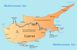 Cyprus map. Illustration of a detailed political map of Cyprus, with the territory governed by U. K. and United Nations in grey and light gray