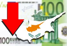 Cyprus map on Euro money background and red arrow down Stock Photos