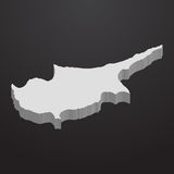 Cyprus map in gray on a black background 3d Stock Photos