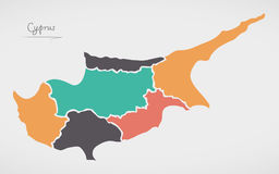 Cyprus Map with states and modern round shapes Stock Photos