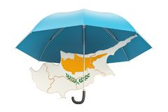 Cyprus map under umbrella. Security and protect or insurance con. Cept, 3D Royalty Free Stock Photo