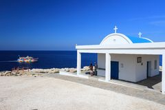 Cyprus. Mediterranean Sea coast. Agioi Anargyroi church at Cape Greco Royalty Free Stock Images
