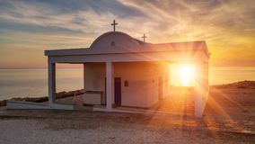 Agioi Anargyroi church. Cyprus, Mediterranean Sea coast. Agioi Anargyroi church at Cape Greco at sunrise Stock Photography