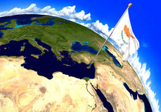 Cyprus national flag marking the country location on world map. 3D rendering Stock Images