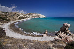 Cyprus near Aprodites rock. One of the many deserted beaches in the popular holiday resort of Cyprus. The third largest island in the Mediterranean Royalty Free Stock Image
