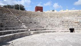 Cyprus - Theatre at the Kourion archaeological site. Cyprus - Pan across theatre at the Kourion archaeological site stock video