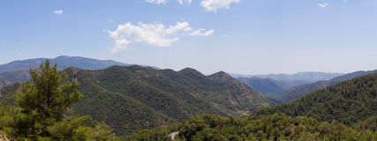 Cyprus. Panorama of mountain peaks. The photo was taken at the island Kyprus. Panorama pieced together from multiple photos Royalty Free Stock Image