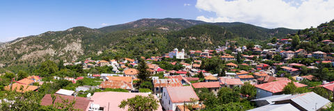 Cyprus. Panorama mountain village. The photo was taken at the island Kyprus. Panorama pieced together from multiple photos Stock Photos