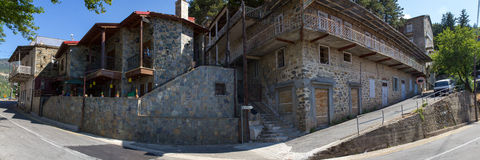 Cyprus. Panorama mountain village. The photo was taken at the island Kyprus. Panorama pieced together from multiple photos Royalty Free Stock Photos