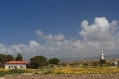 Cyprus Paphos Archaeological Park. View of the Lighthouse Stock Images