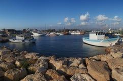 cyprus Paphos hamnstad fotografering för bildbyråer