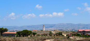 Cyprus Paphos. Lighthouse. Paphos Cyprus 2011. Old Lighthouse. panorama from Archaeological park. JPEG. SRGB Royalty Free Stock Photos