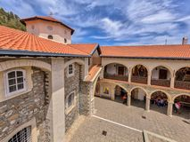 Courtyard in monastery seen from above royalty free stock images
