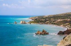 Cyprus, Petra-tou-Romiou, legendary Aphrodite`s birthplase. Sea view. Cloudy spring day. Cyprus, Petra-tou-Romiou, legendary Aphrodite`s birthplase. Sea view Royalty Free Stock Photo