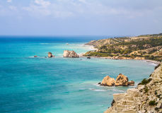 Cyprus, Petra-tou-Romiou, legendary Aphrodite`s birthplase. Sea view. Cloudy spring day. Cyprus, Petra-tou-Romiou, legendary Aphrodite`s birthplase. Sea view Royalty Free Stock Photography