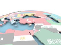 Flag of Cyprus on bright globe. Cyprus on political globe with embedded flags. 3D illustration Stock Image