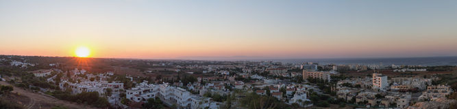 Cyprus. Protaras. Top view of the panorama of Protaras at sunset. Stock Image