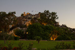 Cyprus. Protaras. View at sunset of the old Church standing on a rock. The photo was taken in the city of Protaras in Cyprus. Panorama pieced together from Royalty Free Stock Photography