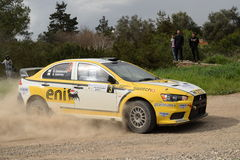 CYPRUS RALLY 21/2/2016 Speed car forest dust fast car eni Royalty Free Stock Photos