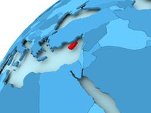 Cyprus on blue globe. Cyprus in red on blue model of political globe. 3D illustration Stock Photography
