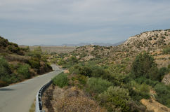 Cyprus road. Road to Kalavasos dam (Cyprus, Larnaca region Stock Photography