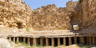 Cyprus. Ruins of the Roman settlement Salamis (IV century BC). View some of the first heated floors. The photo was taken at the island Kyprus. Panorama pieced Stock Photo