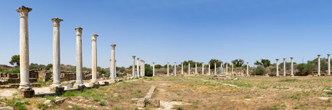Cyprus. Ruins of the Roman settlement Salamis (IV century BC). View of the stadium. The photo was taken at the island Kyprus. Panorama pieced together from Royalty Free Stock Photos