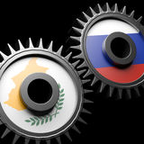 Cyprus - Russia relations. 3d gears with flags Royalty Free Stock Image