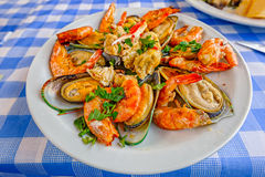 Cyprus seafood Meze at harbourside restaurant Stock Photography