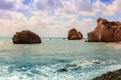 Cyprus seascape with Aphrodite's Rock. Stock Images