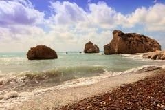 Cyprus seascape with Aphrodite's Rock. Stock Photos