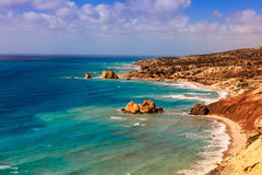 Cyprus seascape with Aphrodite's Rock. Royalty Free Stock Photos