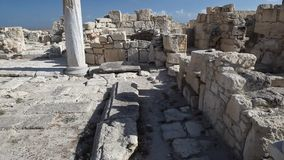 Cyprus - Kourion archaeological site. Cyprus - Slow camera pan across Kourion archaeological site stock footage