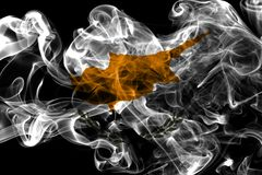 Cyprus smoke flag, island country in the Eastern Mediterranean royalty free stock photo