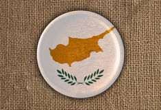 Cyprus Textured Round Flag wood on rough cloth Royalty Free Stock Photos